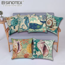 43*43cm Vintage Cushion Cover Marine Sea Shell Pattern Linen Pillow Case for Couch Nordic Ocean Bedding Christmas Decoration