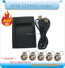 Wholesale -15 style format output  USB 125KHz EM4100 RFID Proximity Reader  + 5  crystal Key Tags