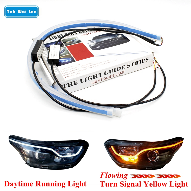 Tak Wai Lee 2X External Installation LED Daytime Running Light Flowing Turn Signal Soft Article Guide Strip Styling Car Day Lamp title=