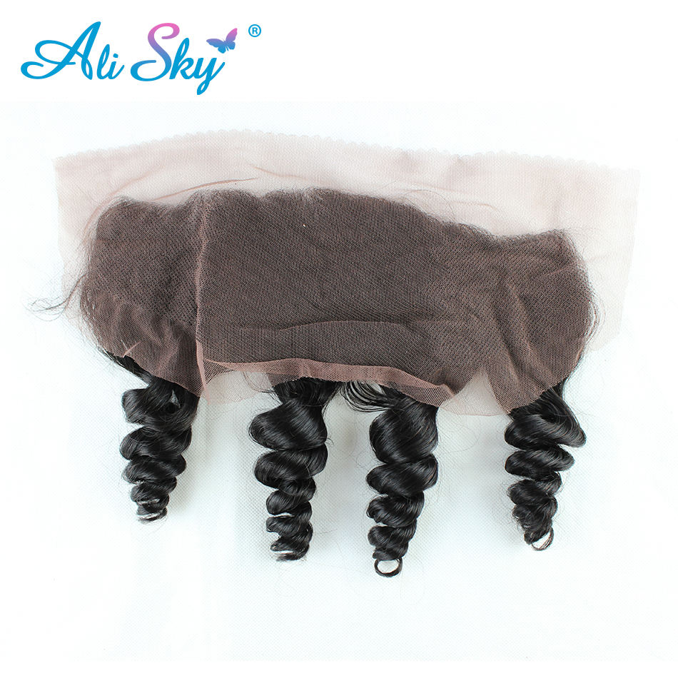 Ali Sky Brazilian Virgin Hair 1 piece Loose Wave Lace Frontal Closure ear to ear Human Hair Weave Extensions full and thick