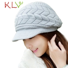 Stylish New Thick Winter Women Knitting With Loose Cap Warm  Cap Hat Gray
