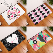 Homing New Arrive Flannel Soft Doormats for Entrance Door Cute Cartoon Rice Balls Pattern Carpets Living Room Floor Mats Crafts(China)