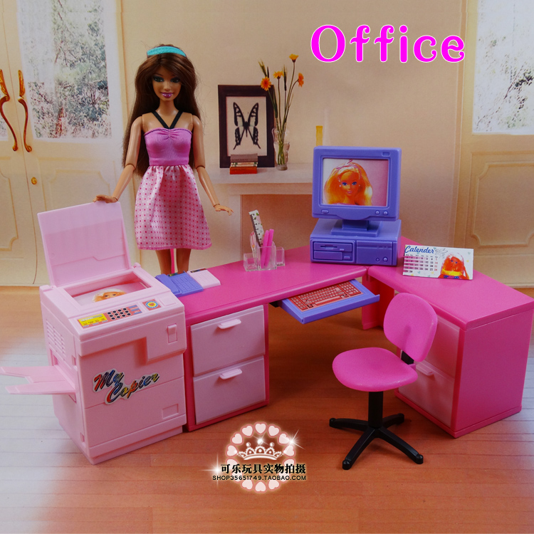 DIY office computer desk combination copier play set for barbie doll, doll house furniture doll accessories for barbie<br>
