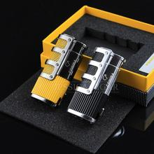 Cohiba Gadgets High-end Cigar Smoking Windproof Refillable Butane Gas Fire Flame Built-in Punch Cigarette Lighter Case humidor(China)