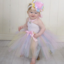 Princess Tutu Easter Pastel Baby Dress Pastel Colors Newborn Toddler Spring Infant Baby Halter Knee Length Birthday Photo Dress