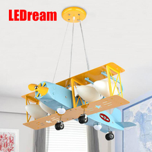 Super bright air plane droplight creative cartoon character boy bedroom of children room the lamps that shield an eye(China)