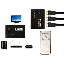 100pcs HDMI Switch with IR Remote 3 In 1 Out 3 PORT HDMI hub Selector For HDTV PS3 DVD(China)