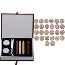 Initial Letter Vintage Alphabet Wax Badge Seal Stamp Wax Stick Kit Set Letter A-Z Optional Metal Stamps with Wood Handle + Spoon