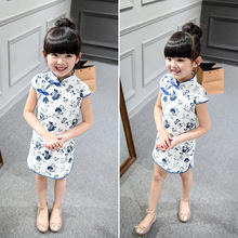 Cotton Girl Dress Trendy Kids Baby Girls Qipao Short Sleeve Chinese Cheongsam Spring Autumn Girls Clothes Hot 2016 New