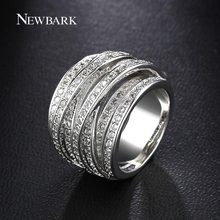 NEWBARK Top New Antique Mosaic AAA Zircon Crystal Multilayer Vintage Silver Color Cross Double X Ring Women Finger Luxury Bijoux(China)