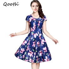 2017 Women's Summer Dress Soft Smooth Milk Silk Plus size 3XL Knee Length A line Loose Floral Printed Casual Dress Women DF112-2