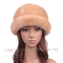 EMS FREE SHIPPING CX-C-197D Factory Direct Sale Girls' Fashion Sun Hat Genuine Mink Fur Hat