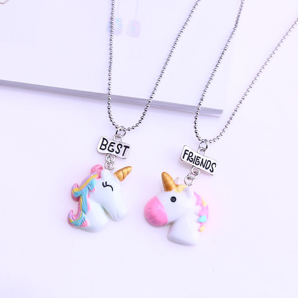 2PCs//Set Jewelry Fashion Bead Chain Friendship Unicorn Pendants Bff Necklace