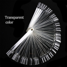 Nail Art 50PCS Transparent/Natural Fan Board Display Nail Art Practice for Polish Gel Showing Tools Tips False Round Hoop Stick
