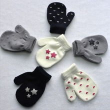 White, Blue, Gray Kids Dot Star Heart Pattern Mittens Boys Girls Soft Knitting Warm Gloves Fashion