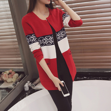 Women Vintage Print Sweaters Autumn Outfit Knitwear New Long Cardigan Sweater Restoring Ancient Ways Long Sleeve Coat O Neck(China)