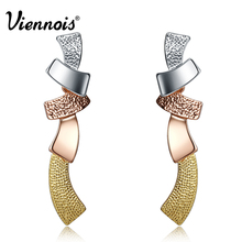 Viennois New Multicolor Long Stud Earrings for Woman Silver/Gold/Rose Gold Color Female Trendy Colorful Earrings(China)