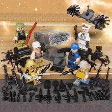 6pcs Wolf Warriors MILITARY Army World War SWAT Soldiers Weapon Special Forces Navy Seals Building Blocks Figures Toys for Boys