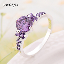 YWOSPX New Fashion Purple Zircon Rings for Women Wedding Ring Crystal Jewelry Gift for Valentine's Day SZ 6/7/8/9/10(China)