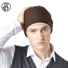 FS Autumn Winter Man Hat Brown Wine Red Knitted Warm Acrylic Skullies And Beanies For Men Head Caps Gorros Hombre Invierno(China)