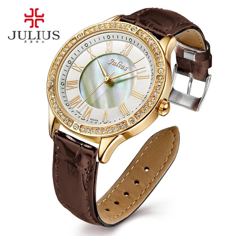 JULIUS New Female Fashion Temperament Leather Belt With Simulated Quartz Round Watch Waterproof Ladies Hour Girl Clock JA-695<br>
