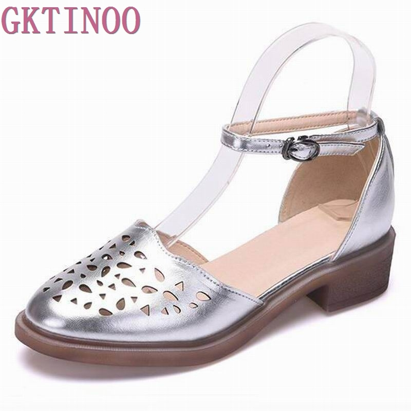2018 summer sandals female handmade genuine leather women casual comfortable woman shoes sandals women summer shoes size 33-40<br>