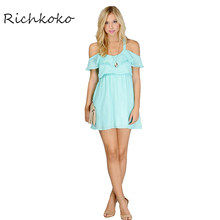 Richkoko Apparel 2017 Summer Women Dress Casual Ruffles Sexy Cold Shoulder Female Mini Dress Streetwear Lady Short Vestidos(China)