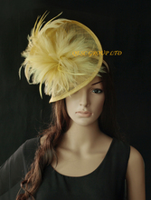 NEW Champagne gold yellow Sinamay feather fascinator for Kentucky Derby,wedding.Royal Ascot.FREE SHIPPING