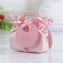 2017 New Arrivals 24Pcs DIY Paper Gift Box Christening Baby Shower Party Favor Boxes Paper Candy Box With Bib Tags & Ribbons