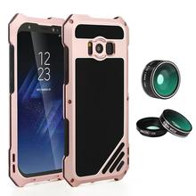 For Samsung Galaxy S8 S8 Plus Camera Lens Kit Mobile Phone Case 3 in 1 Dustproof Shockproof Aluminum Case Protection Shell Cover
