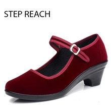 STEPREACH Brand shoes woman women mary janes high heels square sapato feminino zapatos mujer wedding red bottom scarpe donna pum(China)