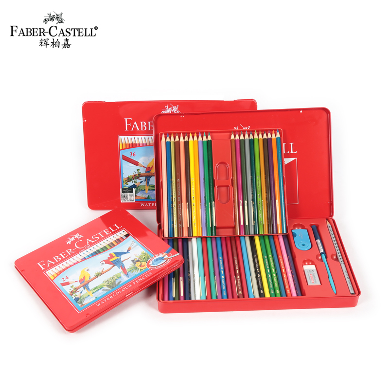 Faber-Castell Water-soluble 36/48 Colors Pencil Iron Box Set Drawing Colour Pencils Art Supplies For Painting<br>