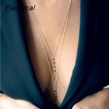 Elessical Sexy Full Bra Body Chain Necklace Beaded Geometric Crossover Belly Waist Chain Woman Party Prom Body Jewelry
