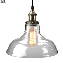 Vintage Clear Glass Pendant Light Copper Hanging Lamps Light Bulbs For Home Decor Restaurant  Light With Light Bulb