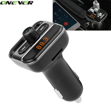 1Pcs Bluetooth Car Kit Music Player FM Transmitter Handfree Modulator With 3.4A Dual USB Charger TF Slot 12-24V For All Phone
