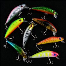 1Pcs Bright Colorful 8.5cm 8g Hard Bait Minnow Fishing Lures Tackle 3D Fish Eyes Hooks diving perch wobbler Fishing Accessory