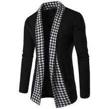 Spring autumn men fashion patchwork open sweater cardigans young men casual handsome sweater cardigans