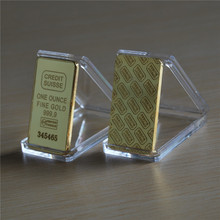 High Quality Credit suisse Fine gold bullion bar plated .999 50pcs/lot dhl Free shipping(China)