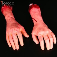 TOFOCO Severed Scary Cut Off Bloody Fake Latex Lifesize Arm Hand Halloween Prop Bloody Fake Body Part Realistic(China)