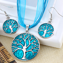 Personality Tree Design Round Pendant Necklace Sets For Women Silver Plated Hook Earring Statement African Jewelry Set(China)