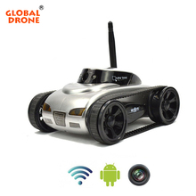 Global Drone RC Tank WiFi Phone Control by Iphone Android Robot with Camera 4CH APP Mini RC WIFI Tank Car Video 0.3MP Camera(China)