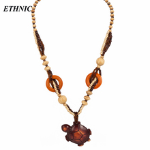 Buy Ethnic Style Cute Turtle Shaped Big Pendant Wood Beaded Chain Long Sweater Necklace Women Fashion Long Necklace for $2.97 in AliExpress store