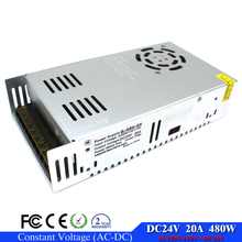 adjustable power supply 24v 20A 480w For Strip light Display transformer 220v 110V AC to dc24v SMPS with Electrical Equipment(China)