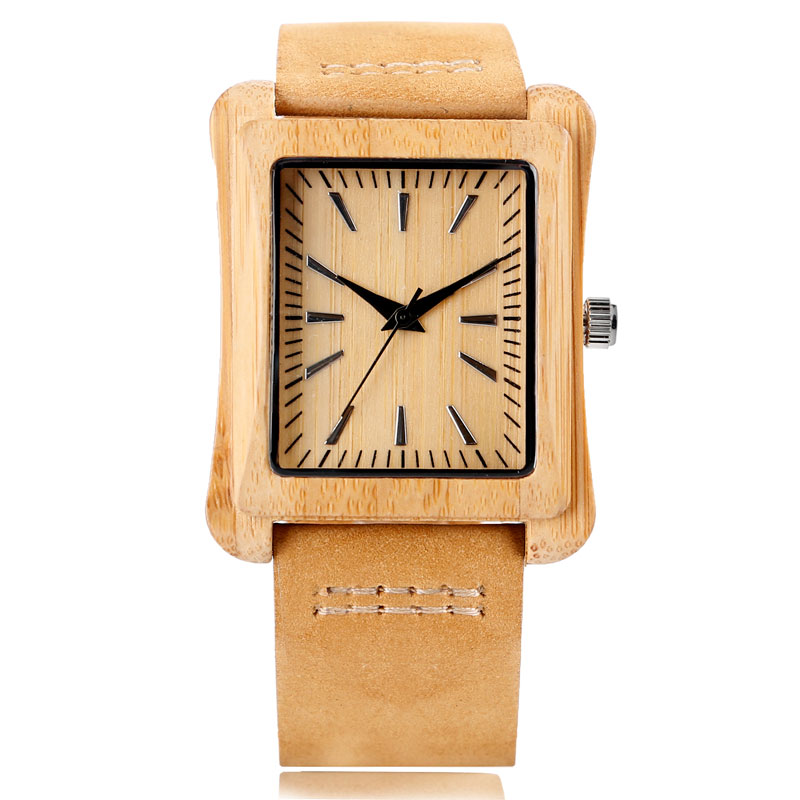 Cool Rectangle Dial Bamboo Quartz Wrist Watch Nature Wood Women Genuine Leather Band Strap Casual Men New Arrival Handmade Hot<br><br>Aliexpress