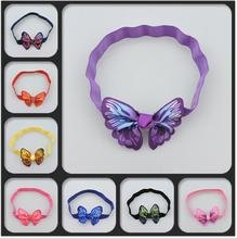 2017 New Hair Accessories Kids Girl Butterfly Headband Ribbon Bows Hairband Elastic Hair bands Bandeau Accesories Pelo(China)