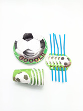 For 20Kids Birthday Party Supplies Soccer/Football Pattern Disposable Cups Plates Drinking Straws(China)