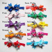 20pcs girls zebra bow headband grosgrain ribbon hair bowsorange lime lavender pink yellow black gray purple blue etc.(China)