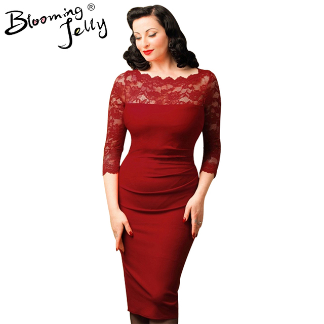 Blooming Jelly Lace Patchwork Red Dress O Neck Wrap Hip Pencil Dress Mid calf Vintage Summer