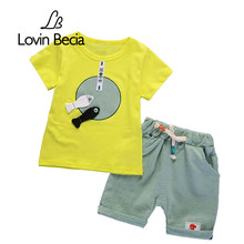 LovinBecia boys clothes Casual short sleeve T-shirt shorts 2-piece set fish pattern Summer boys clothing set children clothing