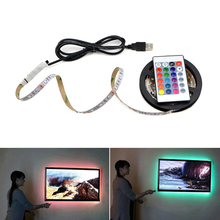 USB Powered LED Strips 3528 (2835) RGB Ribbon Tape Lamp 5M 4M 3M 2M 1M+Remote Controller for TV Ambient Lighting None Waterproof(China)